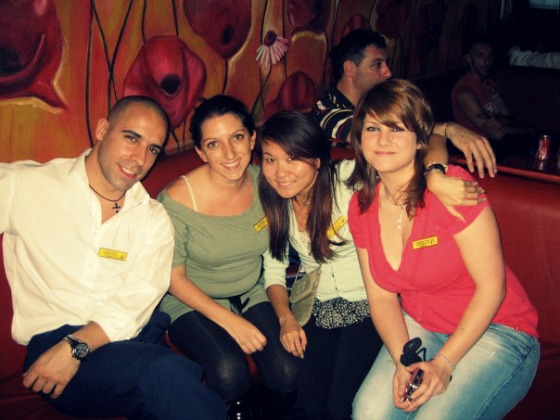 Flanked with students and friends in my farewell party on the Costa Classica (2011)